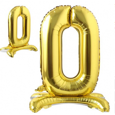 Foil Standing Balloons, number 0, gold 81cm