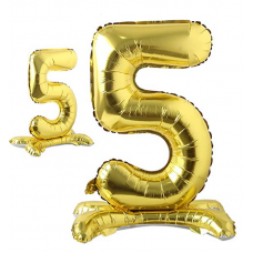 Foil Standing Balloons, number 5, gold 81cm