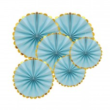 Set  paper fans - 6pcs (40, 30 and 20cm) blue with golden edges