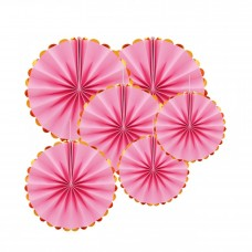 Set paper fans - 6pcs (40, 30 and 20cm) pink with golden edges