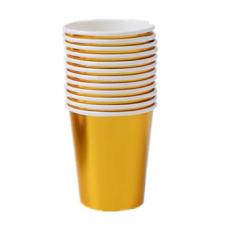 Party paper cups, gold, 10 pcs