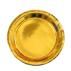 Paper party plates, gold, 23cm, 10 pcs