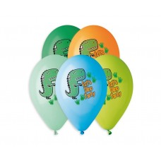 "Premium helium balloons Let's Dino Party, 13"" / 5 pcs."