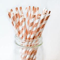 Paper drinking straws, rose-gold stripes, 6x197mm / 24 pcs