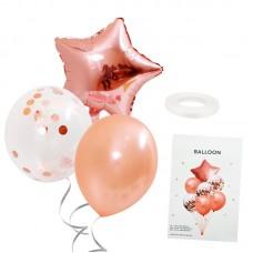 Balloon Bouquet star, rose gold, 7 pcs