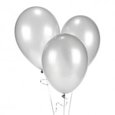 Strong Balloons 27cm, Metallic Silver Snow (1 pack / 10 pc.)