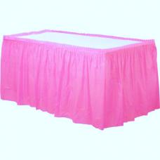 Baby Pink Plastic Tableskirt - 73cm X 4.2m