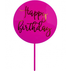 "Topper ""Happy Birthday"", pink, 16,5 cm х 10 cm"