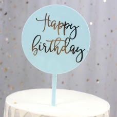 """Topper """"Happy Birthday"""", light blue, 16,5 cm х 10 cm"""