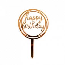 Topper Happy Birthday, rose gold, 1 pc