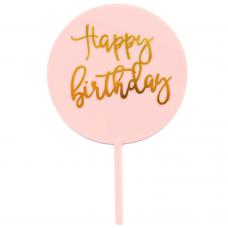 "Topper ""Happy Birthday"", light pink, 16,5 cm х 10 cm"