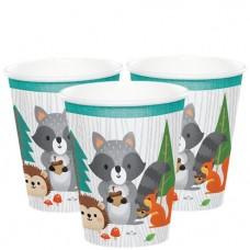 Woodland Animals Paper Cups - 256ml - 8pcs