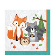 Woodland Animals Napkins - 33cm x 33cm - 16pcs
